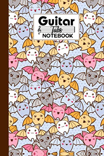 Guitar Tab Notebook: Premium Cute Bats Cover Guitar Tab Notebook, Music Paper Notebook, Blank Guitar Tablature Music Note, 120 Pages - Size 6' x 9'