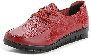 shoesway パンプス スニーカー コンフォートシューズ フラットシューズ ウォーキングシューズ レディース 本革 軽量 カジュアル 通勤 革靴 女性 靴 歩きやすい 痛くない (24cm, レッド)