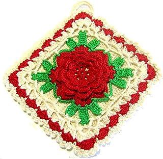 Agarradera de colores con flor roja de ganchillo - Tamaño: 17 cm x 17 cm H - Handmade - ITALY