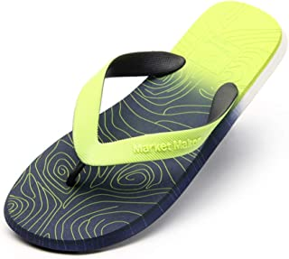 Men's Summer Flip Flops, Gradient Design Slippers Sandals Comfortable Non-Slip Toe Post Thongs Beach Shoes for Apartments, Hotels, Houses,Travel,Green,41