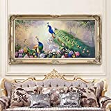 DIY Diamond Painting Kits Talla Grande,Flor color pavo real Pintura de Diamante 5D Completo Set Crystal Rhinestone bordado de punto de cruz artes for Home Wall Decor Gifts Square Drill-20x32in