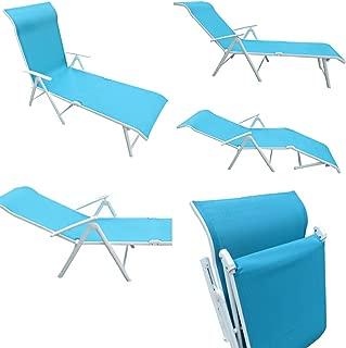 Amaze Steel Folding Deck Chair (Aqua Blue197x60x75cm)