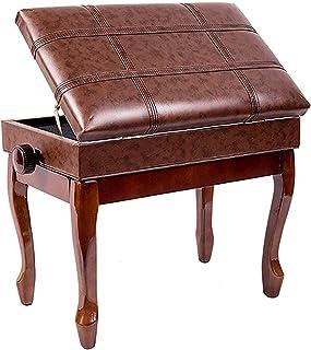 Gprice Taboret fortepianowy z litego drewna, 10 cm z regulacją wysokości, luksusowe pianino solo z pudełkiem do przechowyw...
