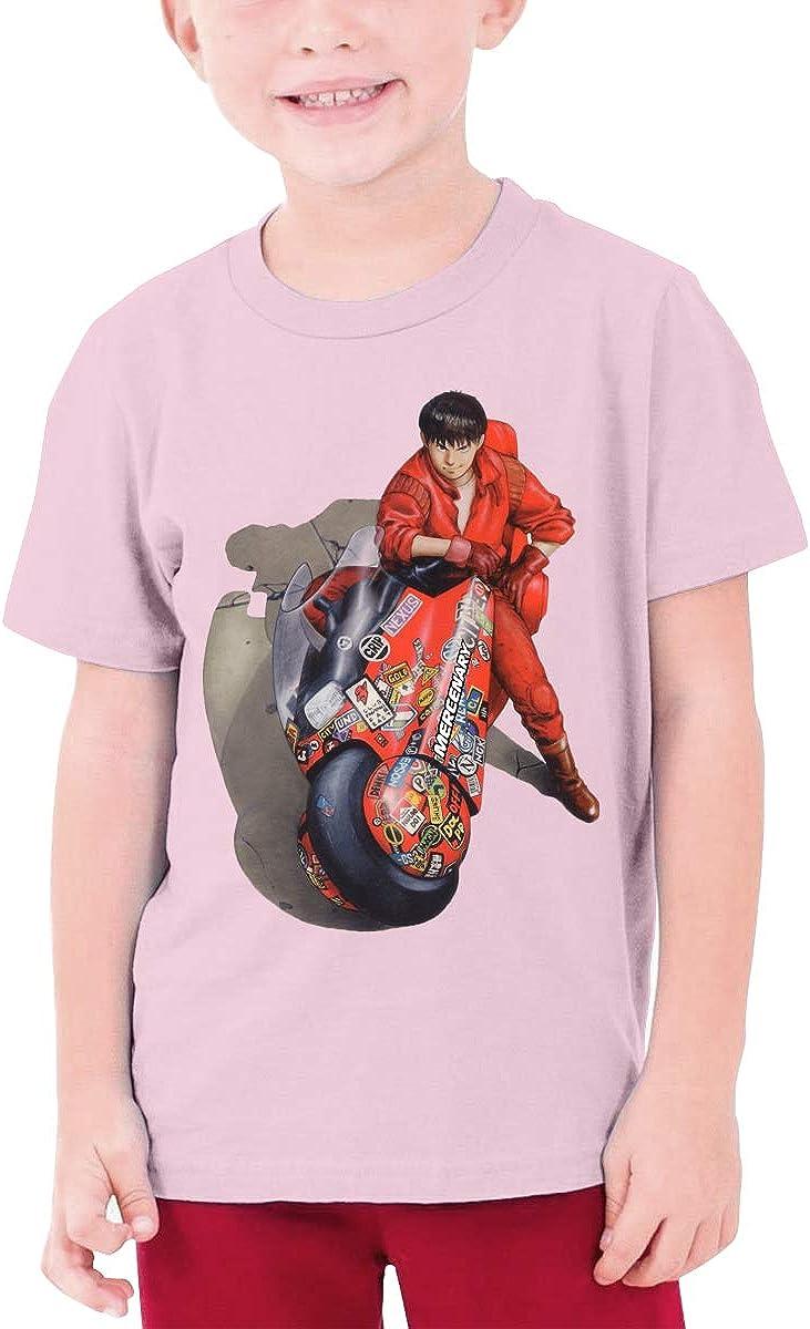 Stylish Akira Boy's Girl's Fashion Short Sleeve T-Shirt Teenager Unisex Tee Pink
