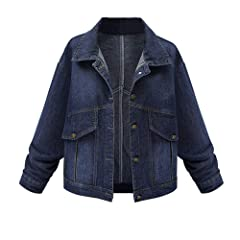 DOLDOA Women Classic Plus Size Long Sleeve Lapel Tops Denim Overcoat Ladies Button Down Fashion Casual Jean Outwear with Pockets,M-3XL