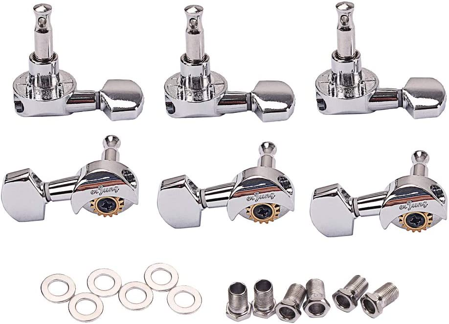as described Chrome 6pcs 3R3L Open Gear Tuning Pegs Machine Heads for Acoustic Electric Guitar Parts