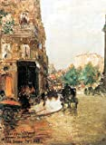 lona de pintura al óleo Parisina Street Scene 2 por Hassam Artist Painting, pintura al óleo, repro arte de pared de 61 x 45,7 cm, calidad de museo