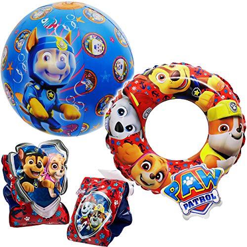 alles-meine.de GmbH 4 TLG. Set: Schwimmring 3D Effekt - Schwimmärmel + Strandball - aufblasbar - Paw Patrol - Hunde - 2 bis 6 Jahre - Schwimmflügel - Schwimmreifen & Schwimmhilfe..