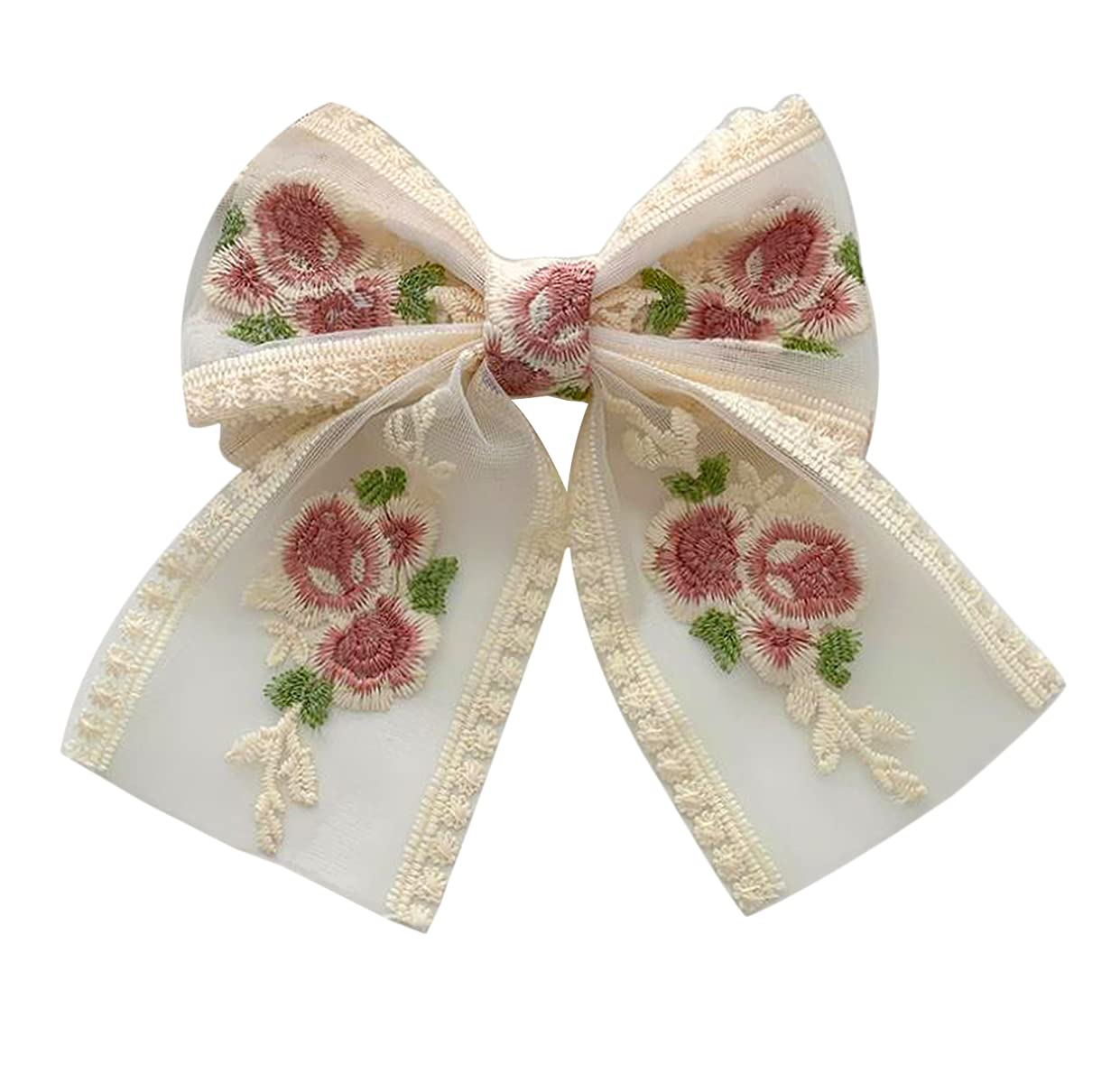 Handmade Lace Bow Hair Clip, Vintage Romantic French Style Flower Hair Accessories For Women, Girls, Ladies. (Big)