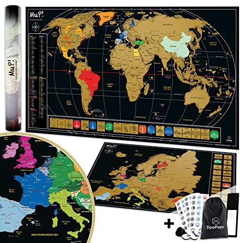 TooPopz® Due Mappe Da Grattare XXL: Mappa Del Mondo Da Grattare 84x44cm + Mappa Europa Da Grattare 46x33cm   Cartina Geografica Design Italiano, Poster Planisfero Da Parete per Idee Regalo Viaggiatori