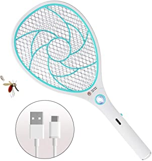 Bug Zapper Racket,Electric Fly Swatter,Rechargeable Mosquito Fly Killer - USB Charging - 3000 Volt - Bright LED Light - Unique 3-Layer Safety Mesh Safe(Blue)