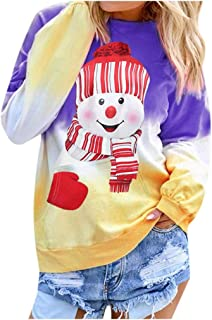 Women Contrast Color Shirts Casual Loose Fit Tunic Top Baggy Comfy Pullover Christmas Printed Long Sleeve Blouse