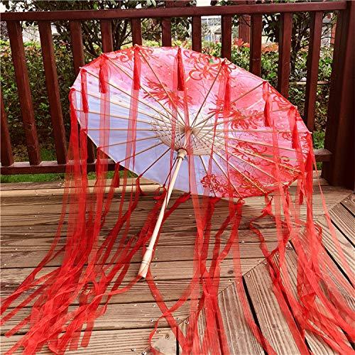 feiren Hanfu - Paraguas de papel engrasado para mujer, lluvia, cinta resistente...