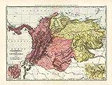 MAP Antique McNally 1898 Colombia Venezuela Large Replica