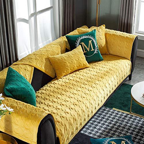 Suuki sofabezug sofaüberwurf Möbelprotektoren überzug für Sessel,Einfarbige Sofa Protectors-Bezüge für Lounge/Empfang,Dicke Plüsch-Sofabezüge,rutschfeste Winter-Sofakissenbezüge-Gelb_45 * 45cm Kiss