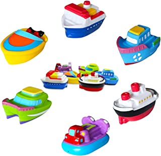 SIBOTER Boat Bath Toys for Boys and Girls Toddlers Kids Baby Bathtub Water Playing Floating Rubber Ship Toy for 1 Year Old...