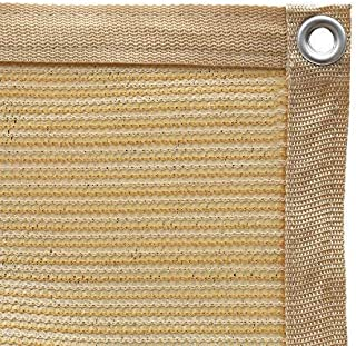 Shatex 90% Shade Fabric Sun Shade Cloth with Grommets for Pergola Cover Canopy 6' x 10', Wheat