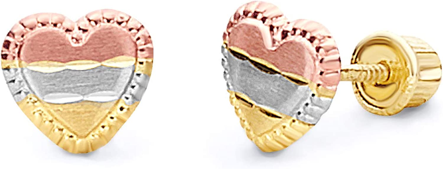 14k Tri Color Gold Heart Stud Earrings with Screw Back