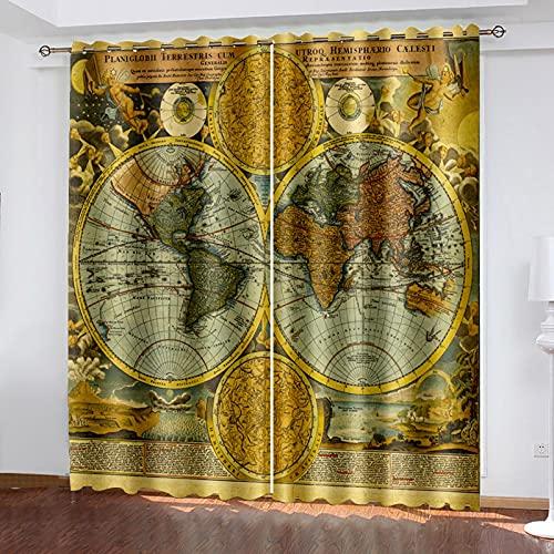 HAOGG Cortina Habitacion Opaca Termica Marrón Mapa Del Mundo Arte 280X260Cm 2...