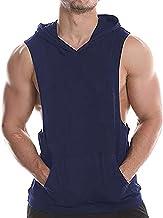 Heren Gym Tank Tops Katoen Workout Fitness Hooded Vest Sport Spier T Shirt Mouwloos Hoodies met Zakken