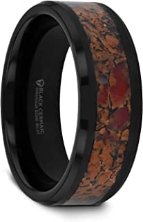 Thorsten Silurian | Tungsten Rings for Men | Tungsten | Comfort Fit | Wedding Ring Band with Dinosaur Bone Inlay and Polished Beveled Edges - 8mm