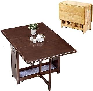 PULLEY Table de salle à manger pliante en bois de pin naturel avec motif papillon Couleur : noyer 1,45 m