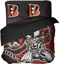 Cincinnati Sports Bedding Set Cartoon Animal Tiger Football Player Number 7 Quilt Coverlet Twin Size for Children (Multi, Full 3pcs)