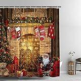 Alishomtll Weihnachts-Duschvorhang, Weihnachtsmann-Druck, dekorativer Badezimmer-Duschvorhang mit Haken, wasserdicht, 174 x 178 cm, Polyestergewebe