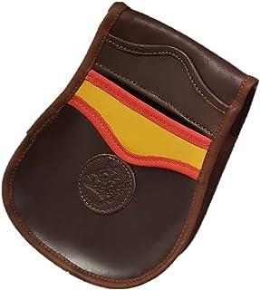 CAZA Y AVENTURA Una Bolsa de ojeo-Bolsa portacartuchos de Cuero,con Detalle Bandera de España, para Llevar en el cinturón.para 50 Cartuchos