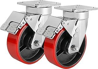 """5""""/6""""/8"""" zwenkwielen set van 2, Heavy Duty wielen met rem, vergrendelwielen met polyurethaan (PU) wielen, zwenkplaat wiele..."""