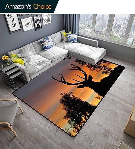 Bigdatastore Antlers Decor Plaid Area Rug Black Deer Red Sky Durable Carpet Area Rug Living Dinning Room Bedroom Rugs And Carpets 2 5 X 9