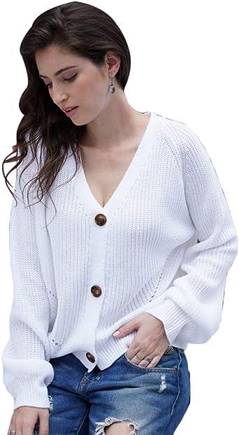 LaoZan Suéter con Botones para Mujer Jerseys Abiertos ...