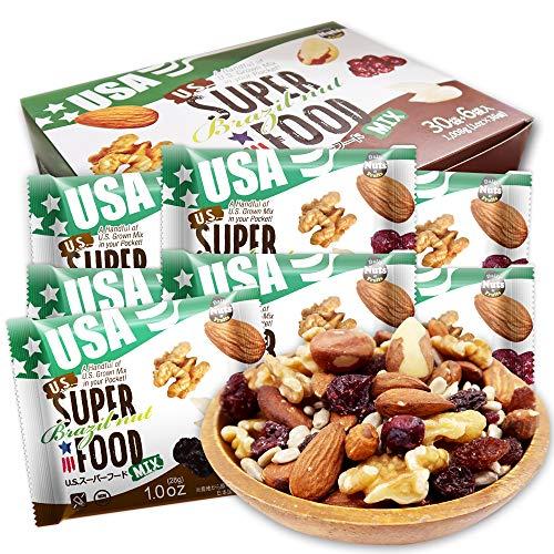 ミックスナッツ US SUPERFOOD Brazil nut USスーパーフード ブラジルナッツ 28g x36袋 箱入り (アーモンド ひまわりの種 ブラジルナッツ くるみ レーズン クランベリー ) 便利な小分けタイプ