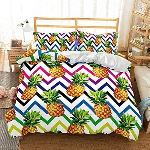 HoYoo Cute Excellent Pineapple OFFicial store Fruit Bedding Set Duvet with Pillow Cover C