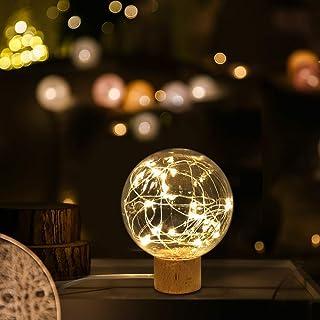 Luz Nocturna LED, TONWON lamparas Sobremesa Luz Habitacion, USB Lámpara de Luz con Soporte de Madera de Haya, Lampara Mesita para Decoracion Habitacion