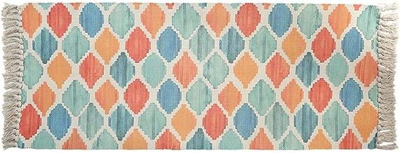 MOGOV Color Geometric Wear Resistant Pure Cotton Woven Tassel Non Slip Mats Luxury Bath Carpet Fit Bathtub Shower Bath Room 60 x 150cm E