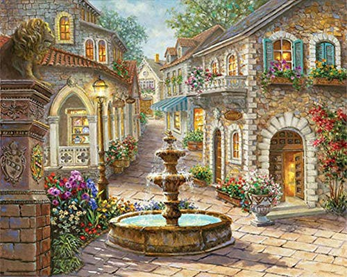 ABEUTY DIY Paint by Numbers for Adults Beginner - Fountain & Flower House & Stone Lion 16x20 inches Number Painting Anti Stress Toys (Wooden Framed)