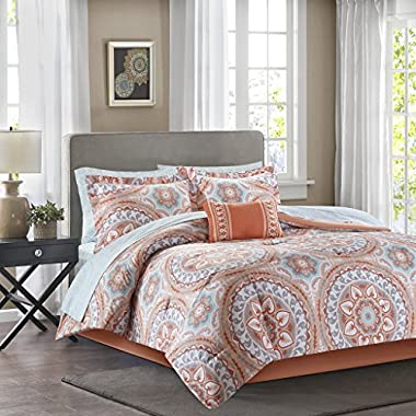 Madison Park Essentials Serenity Cal King Size Bed Comforter Set Bed In A Bag - Coral, Medallion – 9 Pieces Bedding Sets – Ultra Soft Microfiber Bedroom Comforters