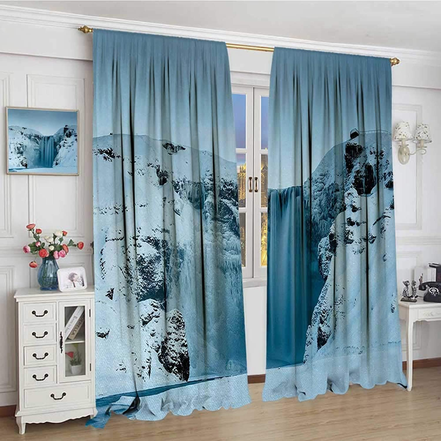 Waterfall Thermal Insulating Blackout Curtain Frozen Waterfall Heavenly Landscape View with Mountains Covered with Snow Art Decorative Curtains for Living Room 96 x96  Petrol bluee