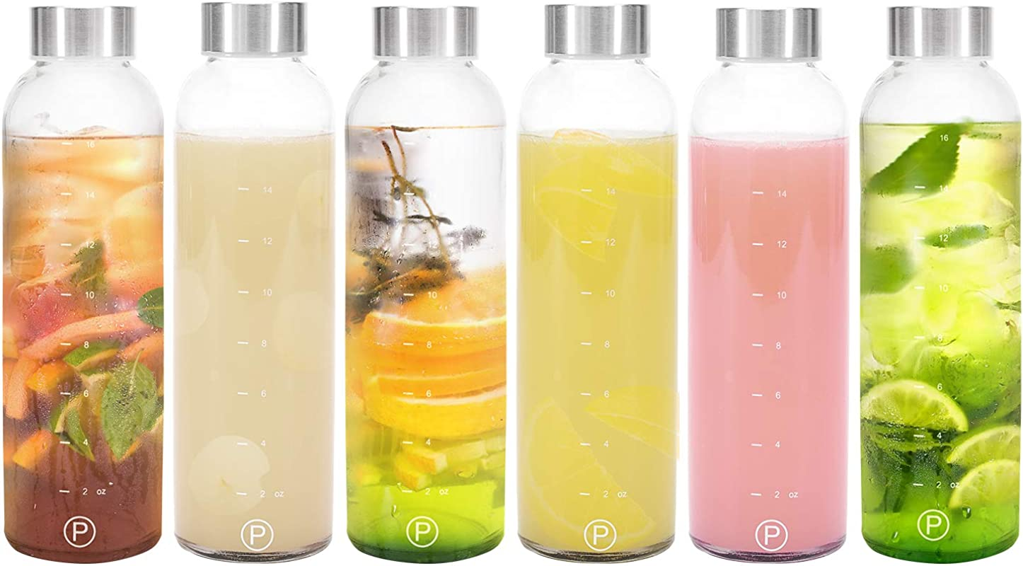 Pratico Kitchen 18oz Leak Proof Glass Bottles Juicing Containers Water Beverage Bottles 6 Pack
