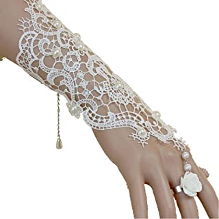 Bridal White Flower Gothic Victorian Lace Vintage Women Handmade Bridal Bracelet Ring Set with gift box