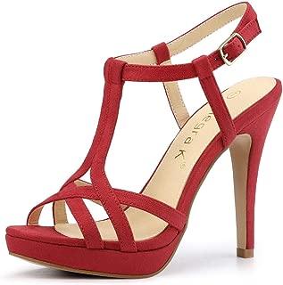 Women's T Strap Slingback Platform Stiletto Heel Sandals