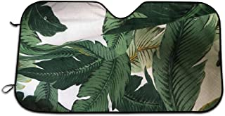 Car Windshield Snow Cover, Polyester Dark Green Palm Leaves Beverly Hills Banana Leaves Windproof Sun Visor Protector, Personalized Car Window Sun Shades Keep Vehicle Cool & Damage Free 27.5 x 51 In