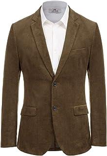 Paul Jones Men's Casual Corduroy Blazer Jacket Slim Fit Two-Button Sport Coat, Coffee, S