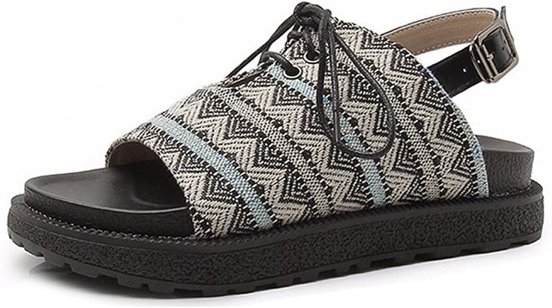 GIY Bohemian Wedge Platform Sandals Soft Sole Open Toe Classic Espadrilles Flat Sandal for Women