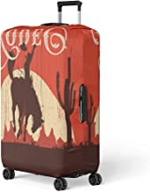 Pinbeam Luggage Cover Western Rodeo Cowboy Riding Wild Horse on Wooden Travel Suitcase Cover Protector Baggage Case Fits 18-22 inches