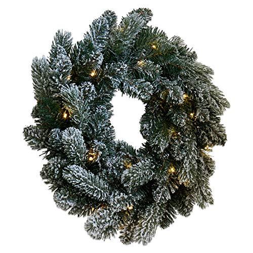 Loberon Kranz Regin, Weihnachtsdeko, Kunststoff, Eisendraht, Schnee: Baumwolle, H/Ø ca. 8/45 cm, grün/weiß