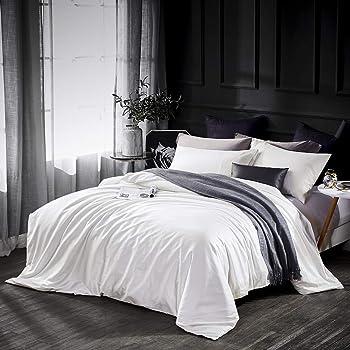 Dazzfond Egyptian Cotton 3 Piece Luxury Bedding Set (King, Cream White)