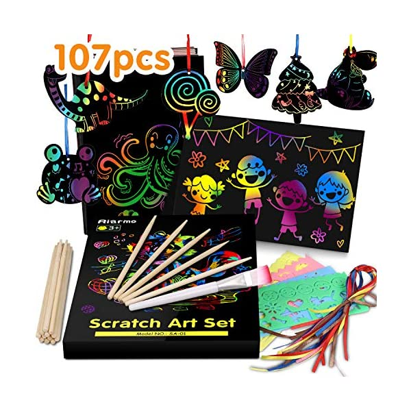 Riarmo Scratch Art Paper Set for Kids, 107 Pcs Rainbow Magic Scratch Off Paper Art Craft for Boys & Girls, Fun Imagination Trigger Game for Children's Summer Vacation, Birthday, and Party Gift