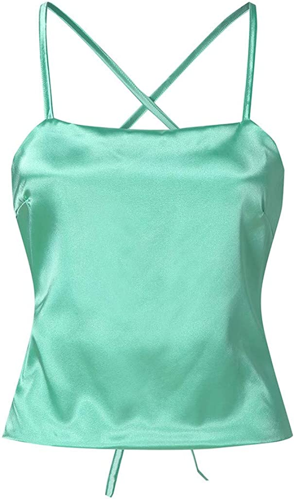 Tank Tops Cami Crop Tops for Women Solid Color Strappy Backless Slim Fit Camisole
